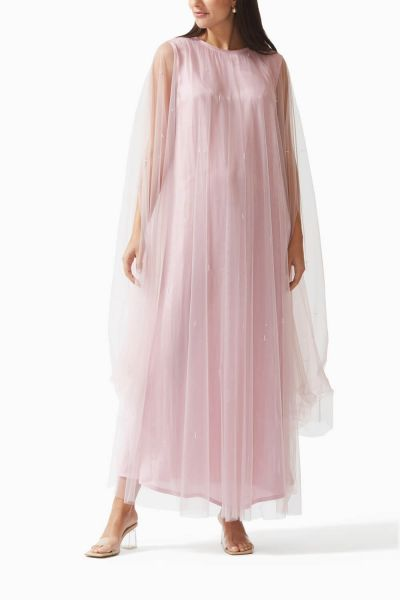 Sheer Overlay Silk-Tulle Dress