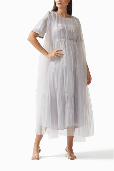 Overlay Embroidered Silk-Tulle Dress