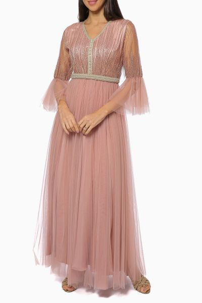 Belted Beaded Tulle Maxi Dress