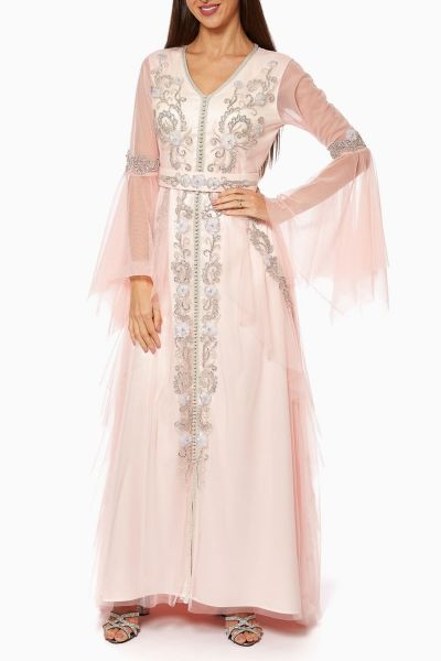 Beaded Belted Tulle-Silk Dress