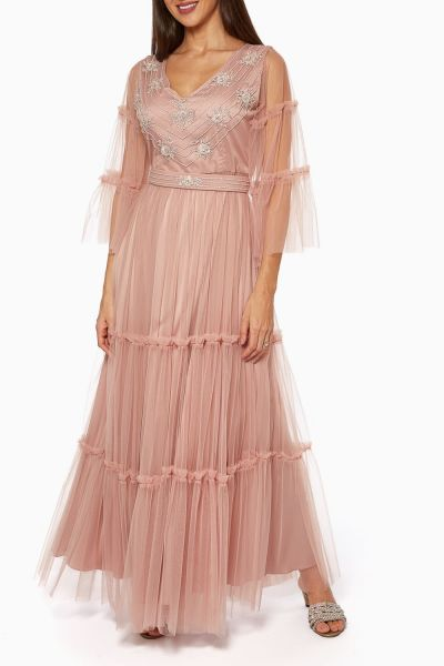 Beaded A-Line Tulle Maxi Dress