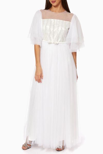 Ruffle-Sleeve Belted Tulle Maxi Dress