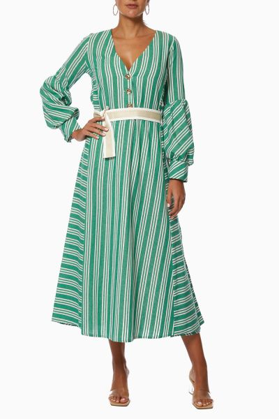 Toscana Striped Belted Maxi Dress