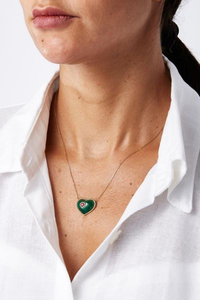 Ruby, Malachite and 18k Yellow Gold In My Heart Necklace