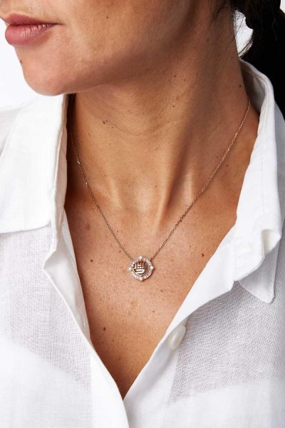 Diamond, Pink Sapphire and 18k Rose Gold Mahaba Necklace