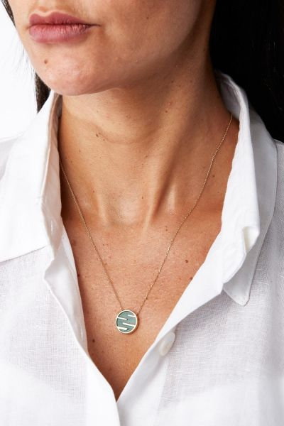 Diamond, Malachite and 18k Yellow Gold Sunset By The Ocean Necklace