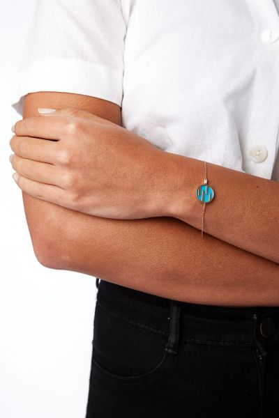 Diamond, Turquoise and 18k Rose Gold Sunset By The Ocean Bracelet